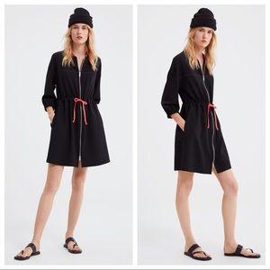 NWT. Zara Black Zip-up Dress. Size XS, S, M, L, XL